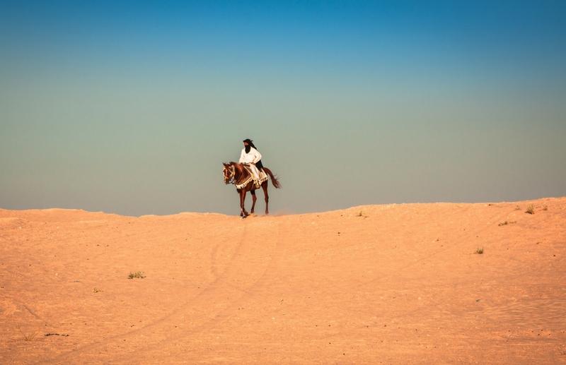 Stolzer Reiter auf seinem bunt verzierten Araber Pferd