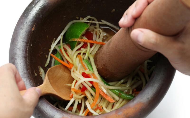 Salat in Thailand kann sehr scharf sein