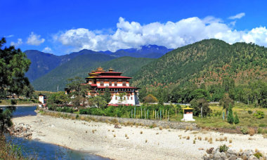 Bhutan, Panoramablick Punakha Kloster in Bhutan, eines der größten Kloster in Bhutan