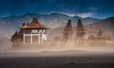 Hindu Temple at Mount Bromo volcanoes in Bromo Tengger Semeru National Park, East Java, Indonesia