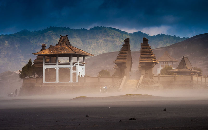 Hindu Temple at Mount Bromo volcanoes in Bromo Tengger Semeru National Park, East Java, Indonesia