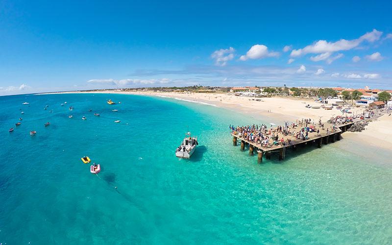 Kapverden, Kapverdische Inseln, Aerial view of Santa Maria beach in Sal Cape Verde - Cabo Verde