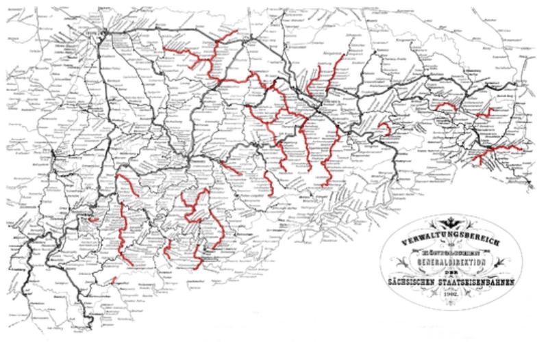 Karte der Sächsischen Schmalspurbahnen