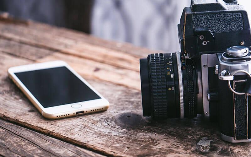 iPhone und Spiegelreflexkamera